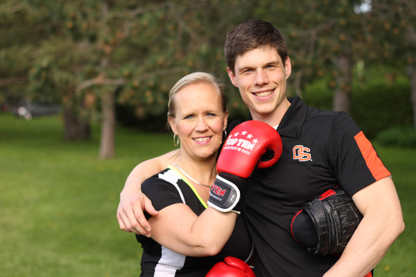 Diane & Burke about to do some boxing pad training